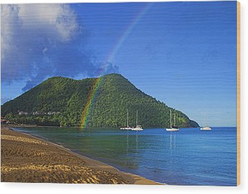Wood Print featuring the photograph Rainbow And Boats- St Lucia by Chester Williams