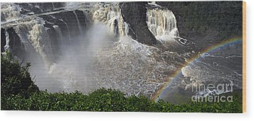 Wood Print featuring the photograph Rainbow And The Waterfall by Vilas Malankar
