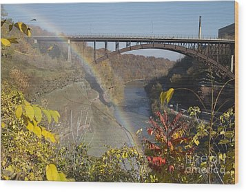 Wood Print featuring the photograph Rainbow At Lower Falls by William Norton