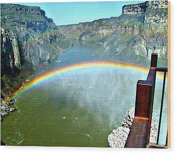 Rainbow At Shoshone Falls Id Wood Print by Jo Sheehan