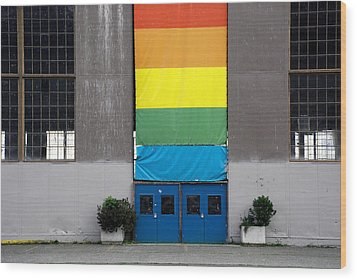Wood Print featuring the photograph Rainbow Banner Building by Kathleen Grace
