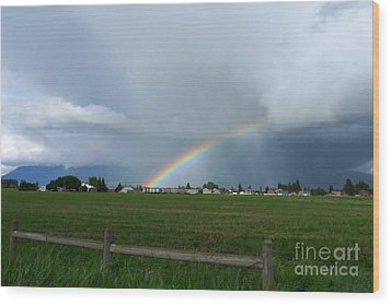 Wood Print featuring the photograph Rainbow Before The Storm by Nina Prommer
