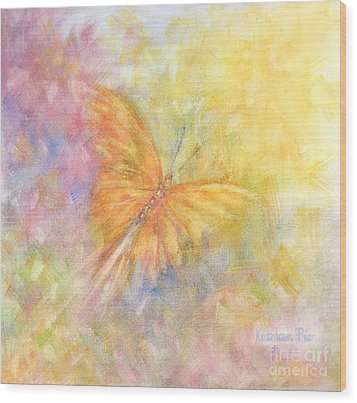 Wood Print featuring the painting Rainbow Butterfly 3 by Kathleen Pio