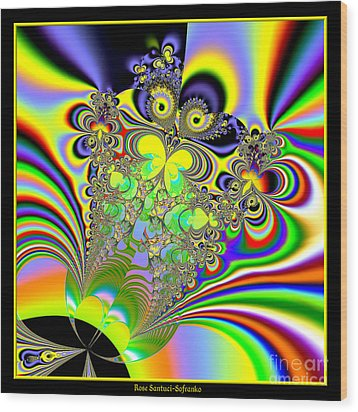 Rainbow Butterfly Bouquet Fractal 56 Wood Print by Rose Santuci-Sofranko