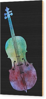 Rainbow Cello Wood Print by Jenny Armitage