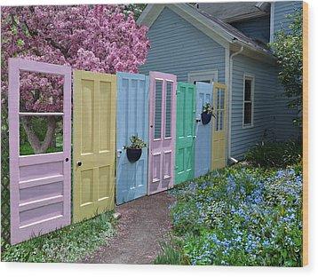 Wood Print featuring the photograph Rainbow Doors by Judy  Johnson