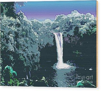 Wood Print featuring the digital art Rainbow Falls by Karen Nicholson