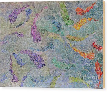 Rainbow Fish Mosaic Tile Abstract Wood Print by Debbie Portwood