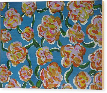Wood Print featuring the painting Rainbow Flowers Blue by Gioia Albano