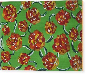 Wood Print featuring the painting Rainbow Flowers Green by Gioia Albano