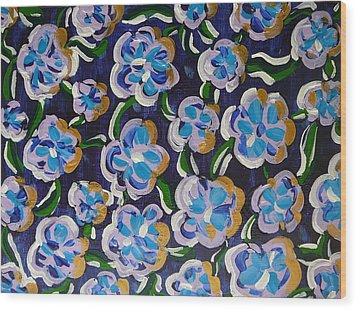 Rainbow Flowers Indaco Wood Print