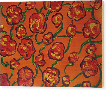 Wood Print featuring the painting Rainbow Flowers Orange by Gioia Albano