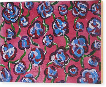 Wood Print featuring the painting Rainbow Flowers Red by Gioia Albano