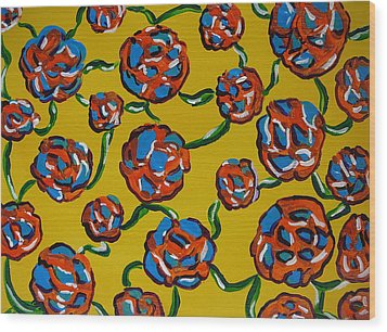 Wood Print featuring the painting Rainbow Flowers Yellow by Gioia Albano