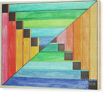Rainbow In Line Wood Print