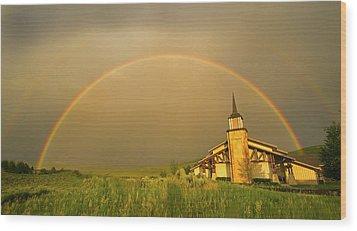 Rainbow In Stormy Sky Wood Print by Tom Kelly Photo