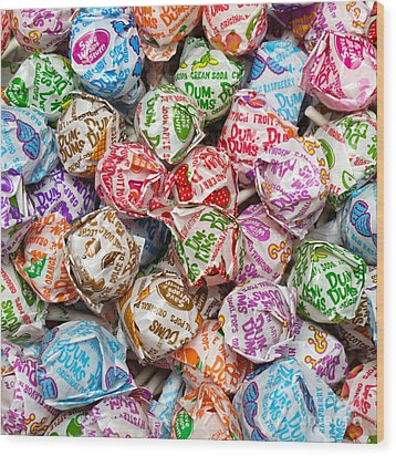 Rainbow Lollipops Square Wood Print by Andee Design