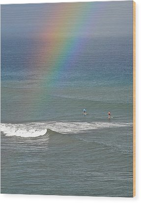 Rainbow Mists And Surfing Too Wood Print by Kirsten Giving