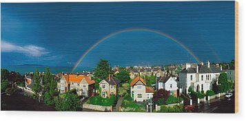 Rainbow Over Housing, Monkstown, Co Wood Print by The Irish Image Collection