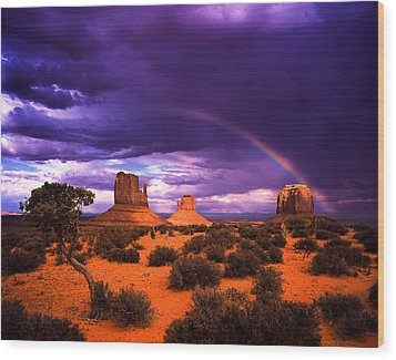 Rainbow Over Monument Valley Wood Print by Daniel Chui