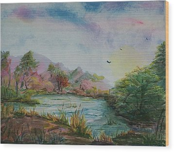 Rainbow Pond Wood Print by Barbara McGeachen