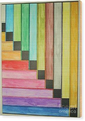 Rainbow Stairway Wood Print