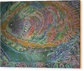Rainbow Under Water Wood Print by Anne-Elizabeth Whiteway