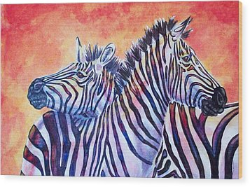 Rainbow Zebras Wood Print by Diana Shively