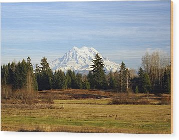 Rainier Standing Tall Wood Print