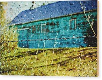 Rainy Barn Wood Print by Jill Hyland