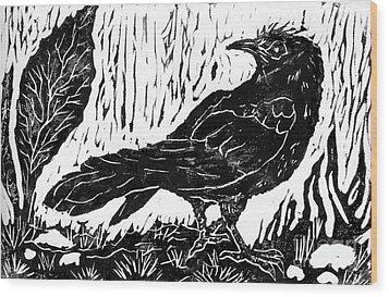 Rainy Day Crow Wood Print by Ellen Miffitt
