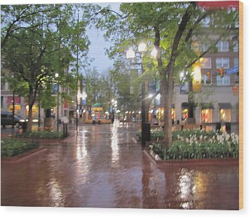 Wood Print featuring the photograph Rainy Evening In Boulder by Shawn Hughes