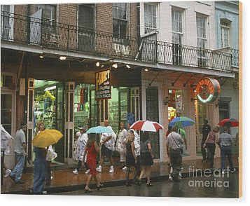 Rainy Evening On Bourbon Street  Wood Print by Thomas R Fletcher