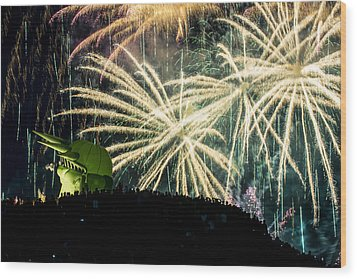 Rainy Fireworks Wood Print by Yoshiki Nakamura
