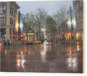 Wood Print featuring the photograph Rainy Night In Boulder by Shawn Hughes