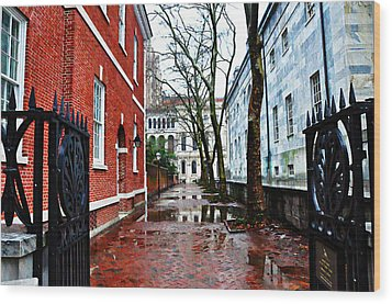 Rainy Philadelphia Alley Wood Print by Bill Cannon