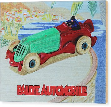 Rallye Automobile Wood Print by Glenda Zuckerman