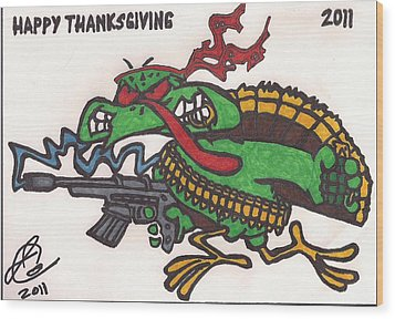 Wood Print featuring the drawing Rambo Turkey by Jeremiah Colley