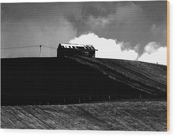 Ranch Building And Clouds Wood Print by Noel Elliot