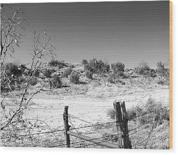 Ranch Fence And Redberry Junipers Two Wood Print