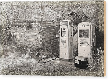 Ranch Gas Pumps Wood Print by Lenore Senior and Dawn Senior-Trask