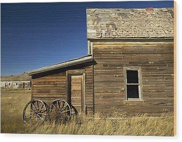 Ranchers House In Prairie Semi-ghost Wood Print by Pete Ryan