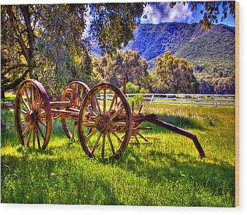 Rancho Oso Wagon Wood Print by Bob and Nadine Johnston