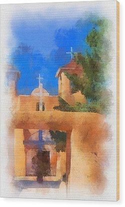 Ranchos Church Gate - Aquarell Wood Print by Charles Muhle