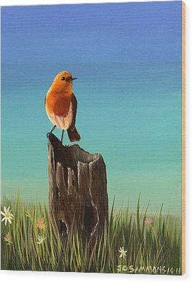 Randy The Robin Wood Print