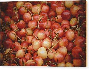 Ranier Cherries Wood Print by Jen Morrison