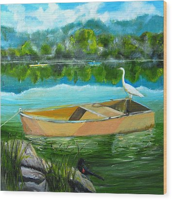 Rare Moment At Spring Lake Wood Print by Terrence  Howell