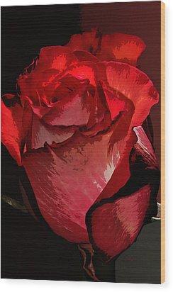 Rare Red Rose Wood Print by Phyllis Denton