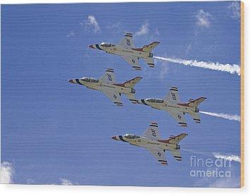 Rare Usaf Thunderbirds Diamond Pass Wood Print by Tim Mulina