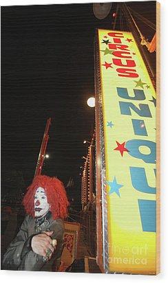 Rash The Clown  Wood Print by Diane Falk